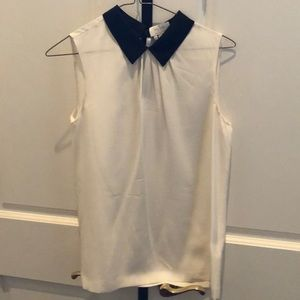 Kate Spade off white blouse with black collar